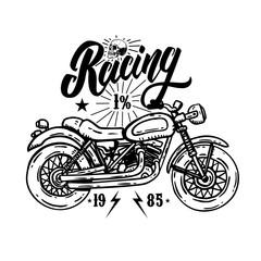 Racing. Emblem template with biker motorcycle. Design element for poster, t shirt, sign, label, logo.