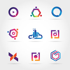 Colorful Logo Business Set Collection Template Sign Symbol Icon
