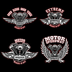 Set of biker emblem templates with winged motorcycle engines. Design element for logo, label, emblem, sign, poster, t shirt.