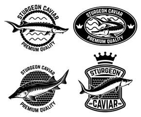 Sturgeon caviar label template. Design element for logo, label, emblem, sign, poster.