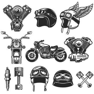 Set of motorcycle design elements. for logo, label, emblem, sign, poster, t shirt.