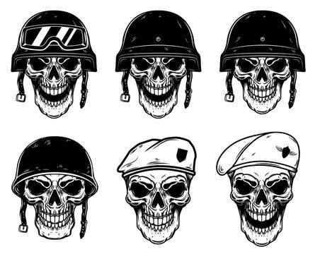 Set of soldier skulls in paratrooper beret, tactical helmet. Design element for logo, label, emblem, sign, poster, t shirt.