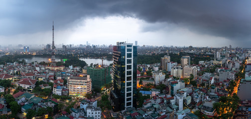 Aerial skyline view of Hanoi city, Vietnam. Hanoi cityscape by sunset period at Hai Ba Trung district viewing from Ba Trieu street