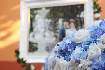 wedding decoration flower and picture flame