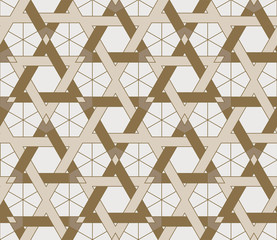 Seamless geometric pattern based on Arabic ornaments. Abstract geometric background in monochrome gold-brown colors