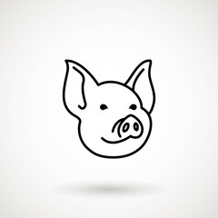 Pig line icon. logo Piglet face in outline style. Icon of Cartoon pig head. Chinese New Year 2019. Zodiac. Chinese traditional Design, decoration Vector illustration