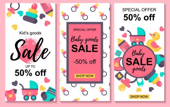 Set of baby goods sale designs. Special offer. Sale -50%. Could be used for store, shop, internet, newsletter, advertisement design.