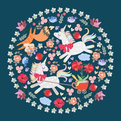 Funny animals in a round ornament with a floral frame. Unicorn harnessed to a cart in the form of a polka dot tea cup with large red flowers in it, funny birds, dreamy fox.