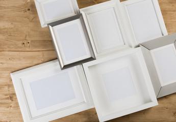 frames on wooden background