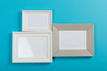 frames on blue background
