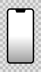 Smartphone icon - black  with turned on white gradient screen with notch, bezel-less, isolated - vector