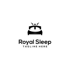 Logo design vector, bed icon, which has a crown, at the top