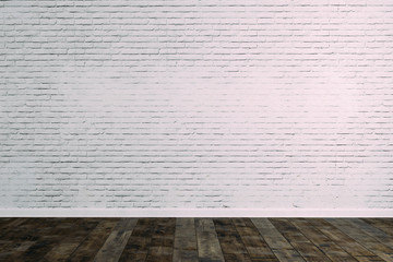 3d room with white brick wall and wooden floor