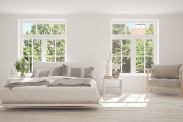 White bedroom with summer landscape in window. Scandinavian interior design. 3D illustration