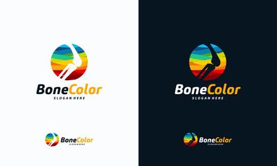 Colorful Bone logo vector, Knee logo designs template, design concept, logo, logotype element for template