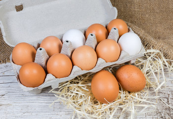 Chicken eggs in paper pulp carton and separately beside