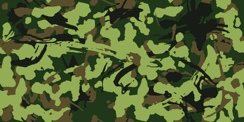 Camouflage with strokes and splashes brush shape, seamless texture, Camo pattern. Army or hunting green uniform. Military Wallpaper for textile and fabric. Grunge style. Vector