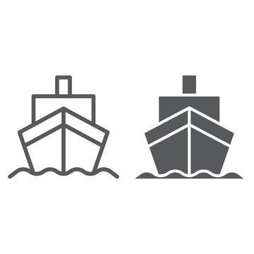 Cargo ship line and glyph icon, transportation and delivery, cruiser sign, vector graphics, a linear pattern on a white background.