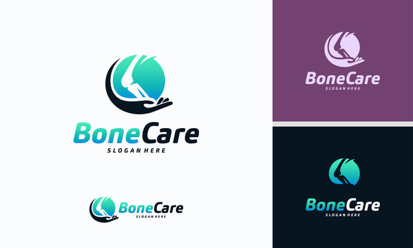 Knee Bone Logo designs concept, Knee Care logo template, Health Bone logo symbol icon
