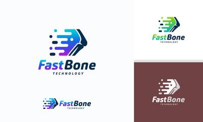 Fast Bone logo designs concept vector, Pixel Bone logo symbol, Knee Tech logo icon