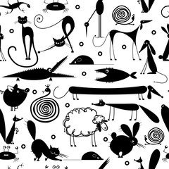 Funny animals, seamless pattern for yor design