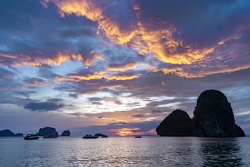 Beautiful sea sunset cloudy sky Thailand Railay