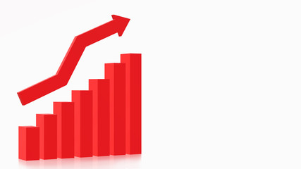 3D red arrow chart for business content design.