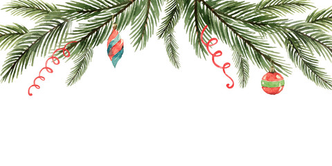 Watercolor vector Christmas banner with fir branches, garlands, balls.