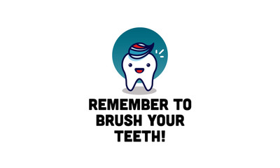 Remember to brush your teeth Health poster with Happy Tooth Vector Illustration
