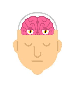 Brain with eyes in head. Man sleeping Brains work. Don't sleep think