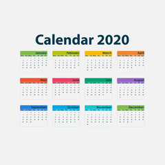 2020 Calendar Template.Calendar 2020 Set of 12 Months.Yearly calendar vector design stationery template.Vector illustration.