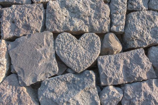 Stone heart in the wall near megane bashi, stone bridge