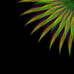 Mardi gras. Shrove Tuesday. Fat Tuesday. Template for invitation, ticket, banner. Colored feathers from the corner.
