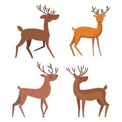 Set of winter deer animals