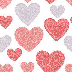Heart graphic doodle red color seamless pattern background illustration vector