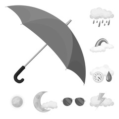 Vector illustration of weather and climate logo. Set of weather and cloud stock vector illustration.