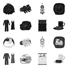 Isolated object of dreams and night symbol. Collection of dreams and bedroom stock vector illustration.