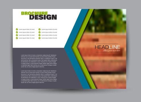 Flyer, brochure, billboard template design landscape orientation for business, education, school, presentation, website. Blue color. Editable vector illustration.