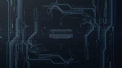 Abstract digital technology futuristic circuit hardware connection background vector Wall mural