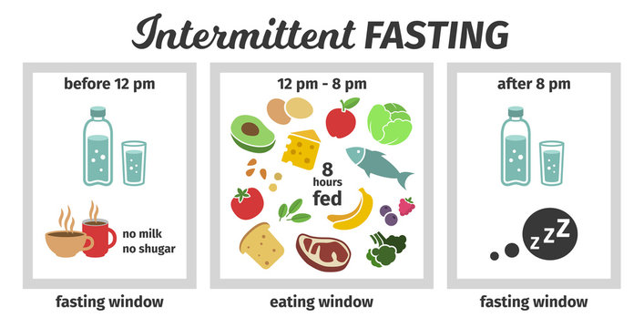 Scheme and concept of Intermittent fasting. eating and fasting windows. Vector illustration. Infographic