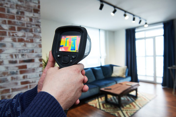 thermal imaging camera inspection of building. check temperature