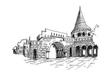 Wall Mural - vector sketch of Fisherman Bastion, Budapest, Hungary.