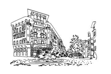 Wall Mural - vector sketch of Coppede Quarter, Rome, Italy