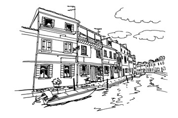 Wall Mural - Vector sketch of architecture of Burano island, Venice, Italy.