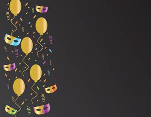 Fototapeta Colorful confetti and masks Golden balloons on Black background obraz