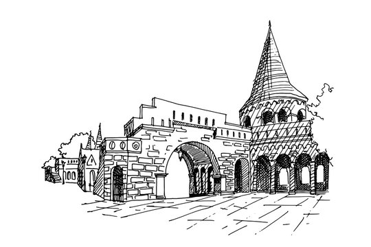 vector sketch of Fisherman Bastion, Budapest, Hungary.