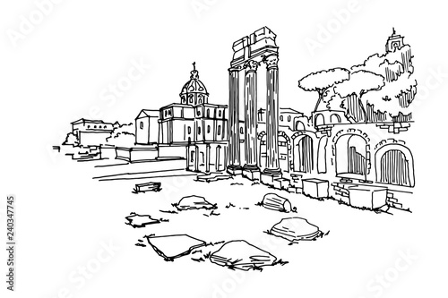 Wall mural vector sketch of Ancient ruins of a Roman Forum or Foro Romano, Rome, Italy.