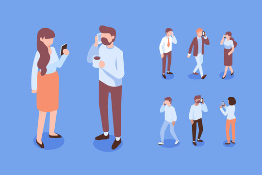 People communication.Talking on phone. Isometric people with mobile phones flat vector set.