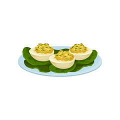 Boiled eggs stuffed with mustard and greens. Appetizing snacks on blue plate. Food theme. Flat vector icon