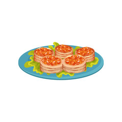 Delicious snacks with red caviar on blue plate. Appetizing food. Flat vector for cafe or restaurant menu